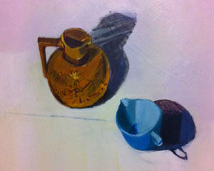 Blue Jug and Brown Vase